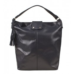 Italská kožená kabelka typu shopper tmavě modrá