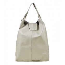 Italská kožená kabelka typu shopper světle šedá
