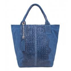 Velká italská kožená kabelka světle modrá aligator