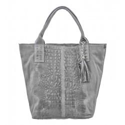 Velká italská kožená kabelka světle šedá