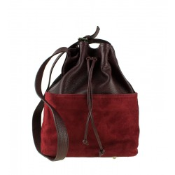 Velká Italská kožená kabelka bordó