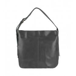Velká italská kožená kabelka šedá