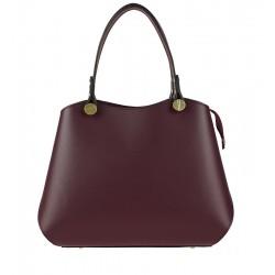 Klasická kožená kabelka typu kufřík bordó
