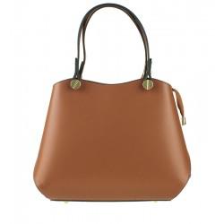 Klasická kožená kabelka typu kufřík hnědá