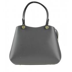 Klasická kožená kabelka typu kufřík šedá