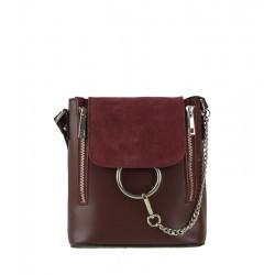 Malá klasická kožená kabelka bordó