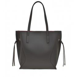 Klasická italská kožená kabelka šedá