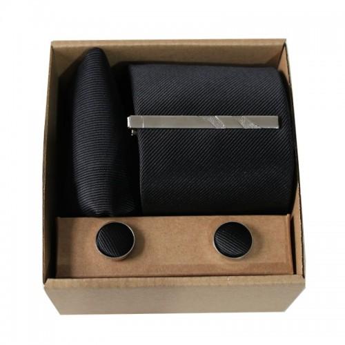 Šedá kravata s proužky v dárkovém balení MARROM