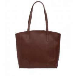 Klasická kožená kabelka hnědá