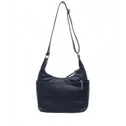 Klasická kožená kabelka tmavě modrá