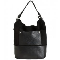 Italská kožená kabelka typu shopper černá