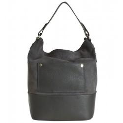 Italská kožená kabelka typu shopper šedá