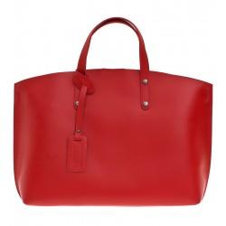 Kožená italská kabelka taška červená