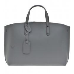 Kožená italská kabelka taška šedá