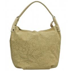 Italská kožená kabelka typu shopper béžová