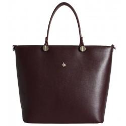 Kožená italská kabelka taška bordó