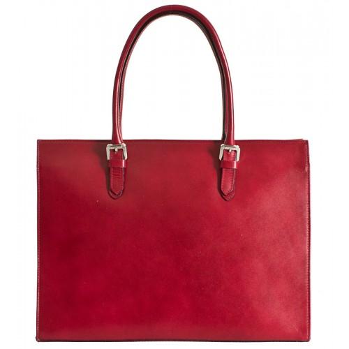 Klasická italská kožená kabelka - červená
