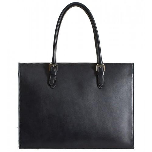 Klasická italská kožená kabelka - grafit