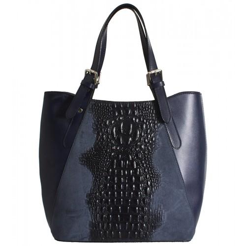 Klasická italská kožená kabelka tmavě modrá aligator