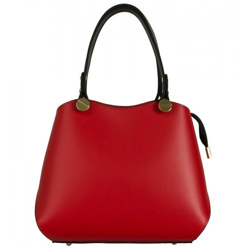 Klasická Italská kožená kabelka červená