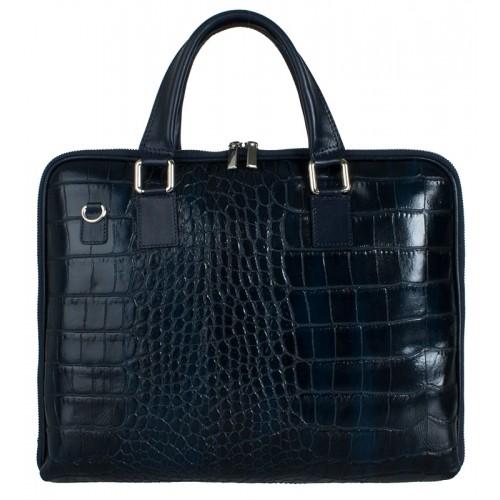 Kožená italská kabelka taška tmavě modrá