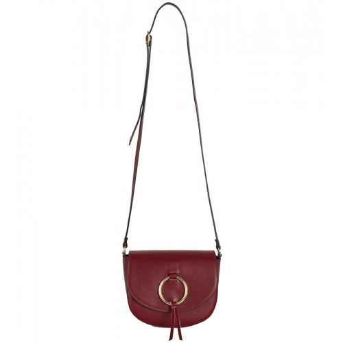 Malá klasická Italská kožená kabelka bordó