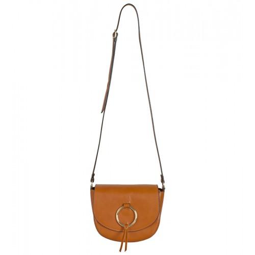 Malá klasická Italská kožená kabelka hnědá