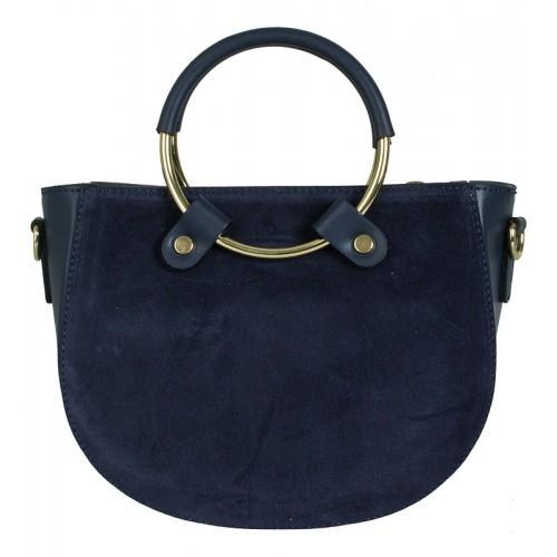 Klasická italská kožená kabelka tmavě modrá