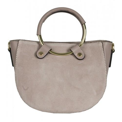 Klasická italská kožená kabelka růžová