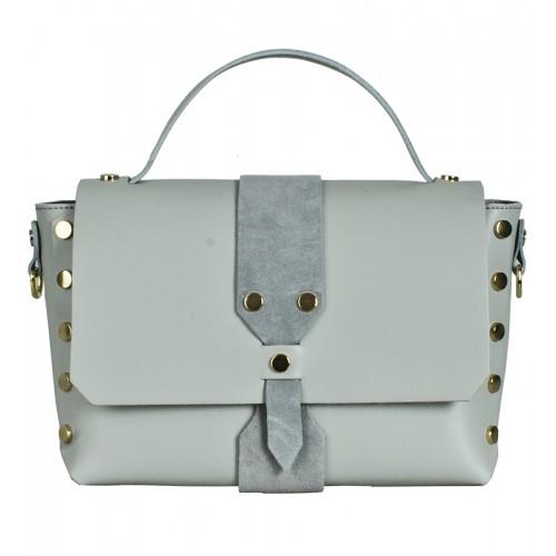 Italská kožená kabelka světle šedá