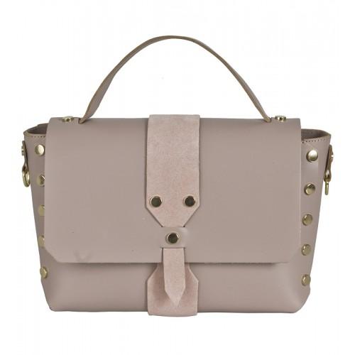 Italská kožená kabelka růžová