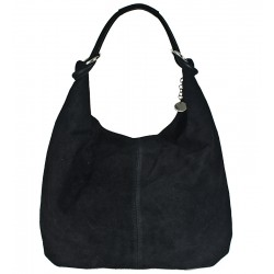 Italská kabelka typu shopper z přírodní kůže černá