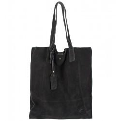 Italská kabelka typu shopper semišová kůže černá