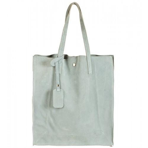 Italská kabelka typu shopper semišová kůže světle modrá