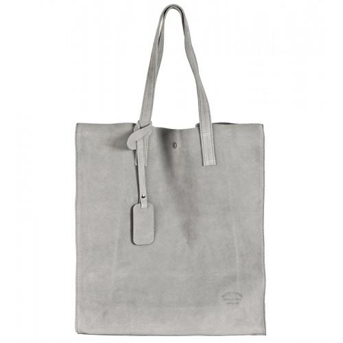 Italská kabelka typu shopper semišová kůže šedá