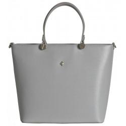 Kožená italská kabelka taška - světle šedá