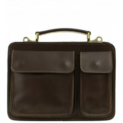 Pánská kožená taška Vera Pelle - tmavě hnědá