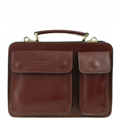 Pánská kožená taška Vera Pelle - hnědá