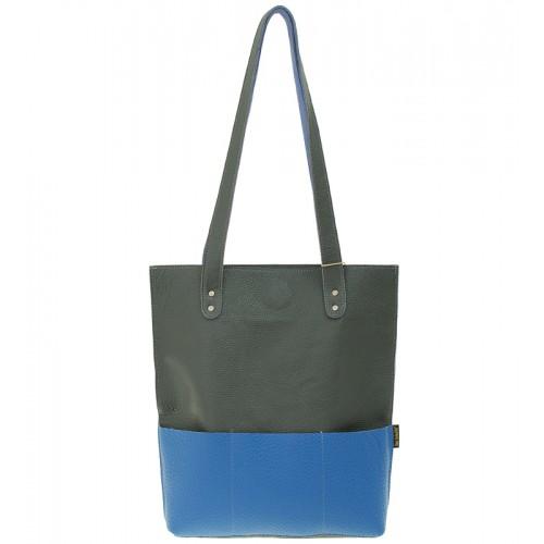 Kožená kabelka typu shopper Margaret Słoń Torbalski - světle modrá