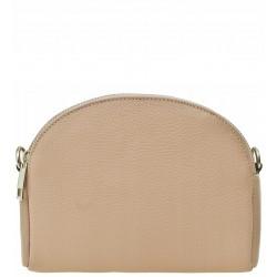 Italská kožená kabelka typu listonoška - pudrově růžová