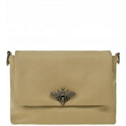 Italská kožená kabelka typu listonoška - béžová