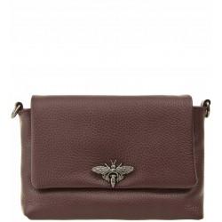 Italská kožená kabelka typu listonoška - bordó