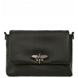 Italská kožená kabelka typu listonoška - černá