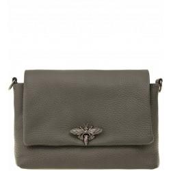 Italská kožená kabelka typu listonoška - šedá