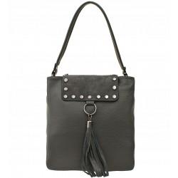 Italská kožená kabelka s třásněmi - šedá