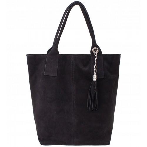Italská kožená kabelka typu shopper s třásněmi semišová kůže - černá