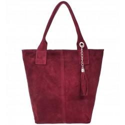 Italská kožená kabelka typu shopper s třásněmi semišová kůže - bordó