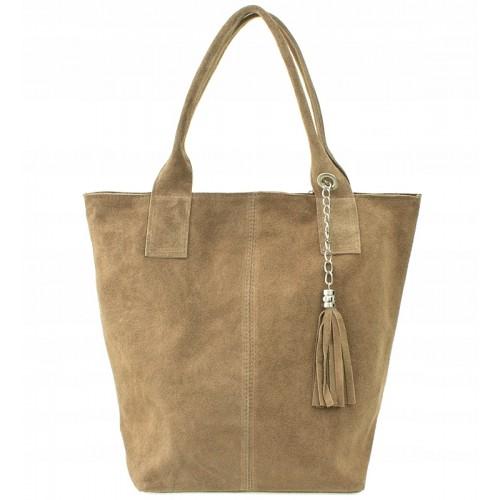 Italská kožená kabelka typu shopper s třásněmi semišová kůže - hnědá