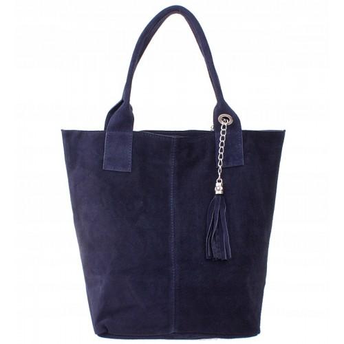 Italská kožená kabelka typu shopper s třásněmi semišová kůže - tmavě modrá