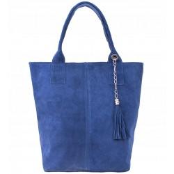 Italská kožená kabelka typu shopper s třásněmi semišová kůže - světle modrá